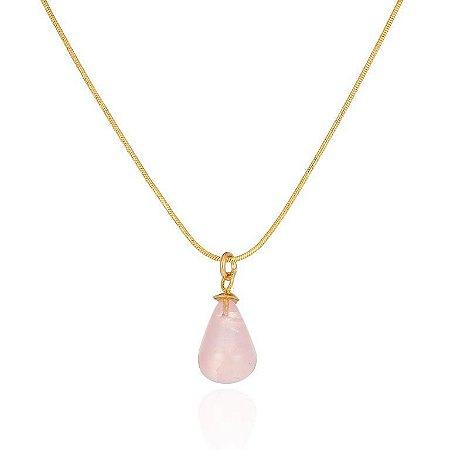 Pingente Candy 323 Ouro Quartzo Rosa