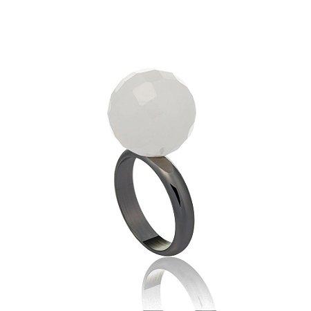 Anel Bubble Ródio Negro Quartzo Branco