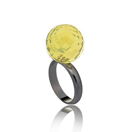 Anel Bubble Ródio Negro Green Gold