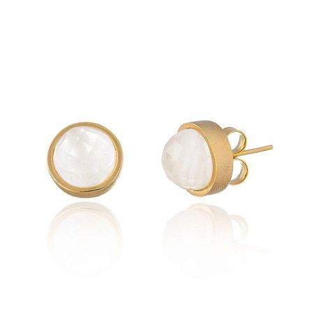 Brinco Baby Bubbles 691 Ouro Quartzo Branco
