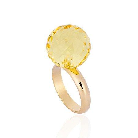 Anel Bubbles Ouro Caramelo Cristal