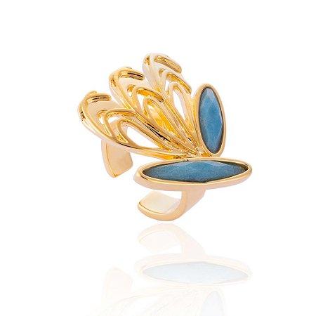 Anel Iris 392 Ouro Ave do Paraíso Quartzo Azul