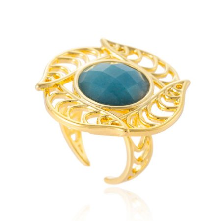 Anel Iris 393 Ouro Ninfa Quartzo Azul