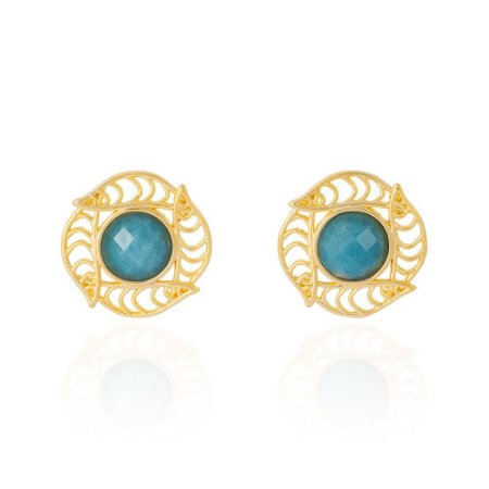 Brinco Iris 866 Ouro Ninfa Quartzo Azul