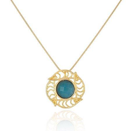 Pingente Iris 327 Ouro Ninfa Quartzo Azul