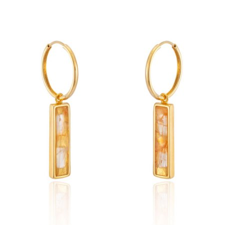 Brinco Essencial 412 Ouro Quartzo-Laranja