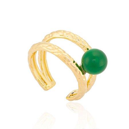 Anel 394 Ouro Ágata Verde