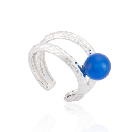 Anel 394 Ródio Ágata Azul