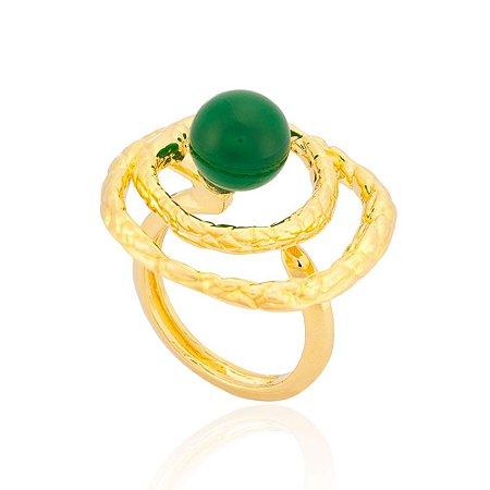 Anel 396 Ouro Ágata Verde