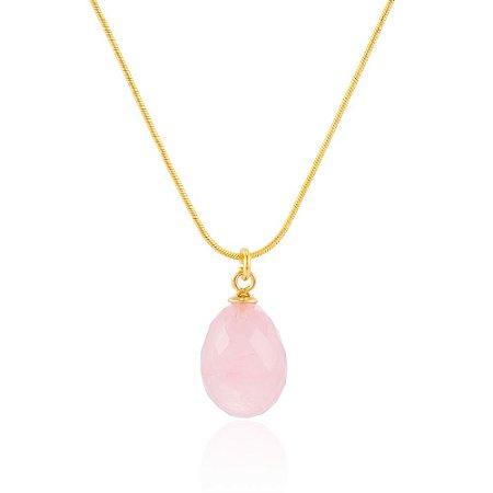Pingente Bubble Ovo Ouro Quartzo Rosa