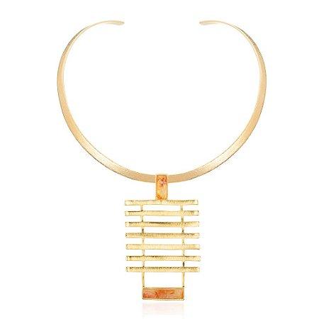Pingente Forma 341 Ouro Quartzo Laranja
