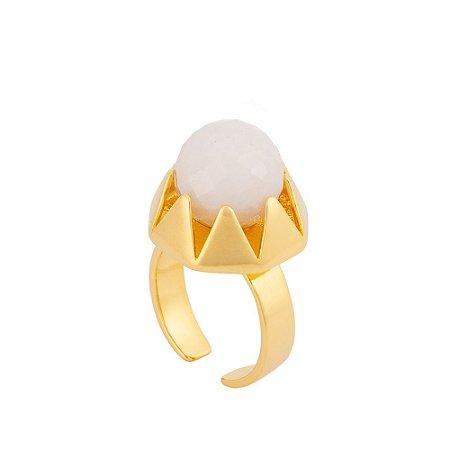 Anel L'Atelier 404 Ouro Quartzo Branco