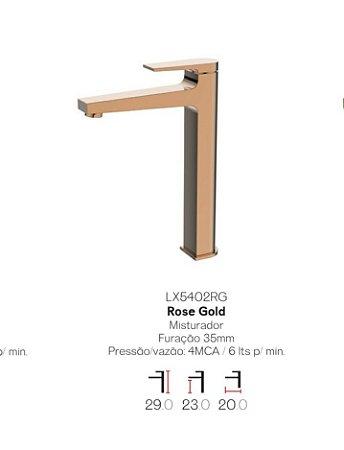 Misturador monocomando Red Gold bica alta para lavatório LX5402RG - Lexxa