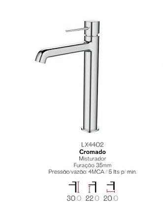 Misturador monocomando  bica alta para lavatório LX4402 - Lexxa