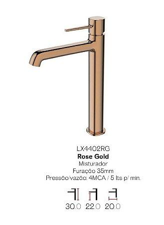 Misturador monocomando Rose Gold  bica alta para lavatório LX4402RG - Lexxa