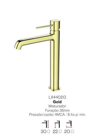 Misturador monocomando Gold  bica alta para lavatório LX4402G - Lexxa