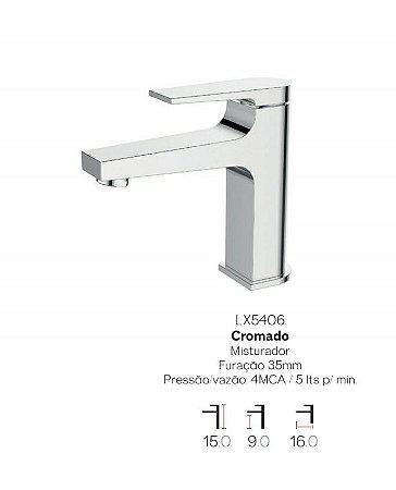Misturador monocomando bica baixa para lavatório LX5406 - Lexxa