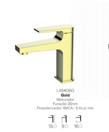 Misturador monocomando Gold bica baixa para lavatório LX5406G - Lexxa