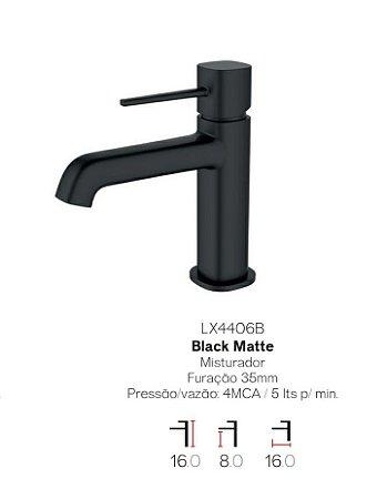 Misturador monocomando Black Matte bica baixa para lavatório LX4406B - Lexxa