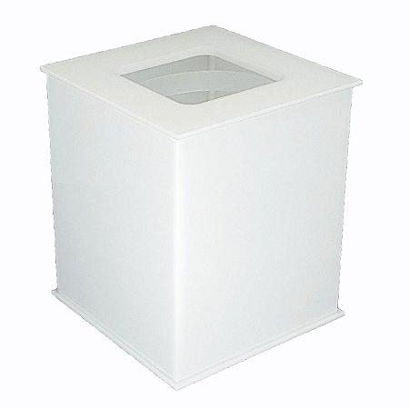 Lixeira quadrada Vazada em acrílico Branco - Decor Acrílicos