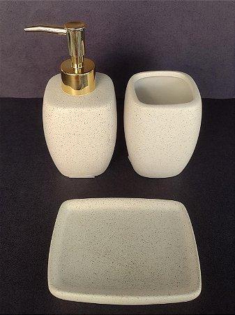 Conjunto de potes para bancada 03 peças branco e dourado - Moas