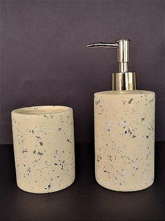 Conjunto de potes para bancada 02 peças areia e dourado - Moas
