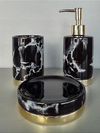 Conjunto de potes para bancada 03 peças preto marmorizado e dourado - Moas