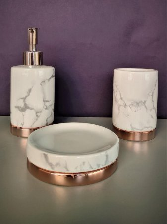 Conjunto de potes para bancada 03 peças branco marmorizado e rose gold - Moas