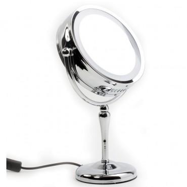 Espelho de bancada com iluminação e dupla face (aumento de 5X em um dos lados)