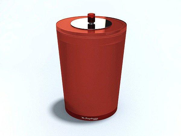 Lixeira redonda 3L c/ sobre - tampa inox decorada - R. Szpilman- Várias Cores Disponíveis