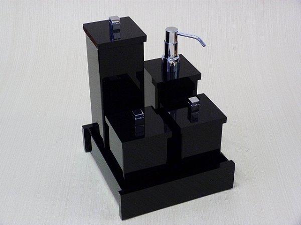 Conjunto de potes Duo com puxador em metal 5 peças - Decor Acrílicos