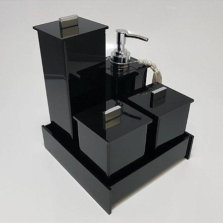 Conjunto de potes 05 peças Acrilico Elegancy - preto - Decor Acrílicos