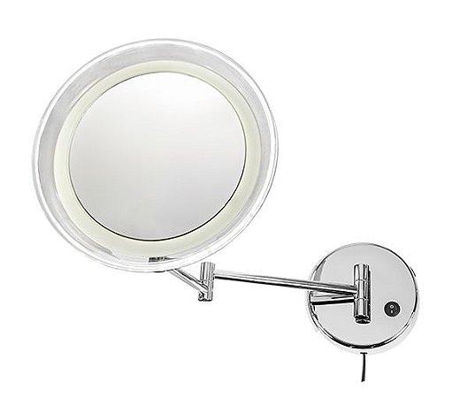 Espelho Fixo com Iluminação LED, Haste Articulada, aumento 10X