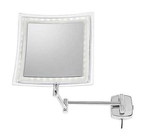 Espelho Fixo com Iluminação LED, Retangular, aumento 5X