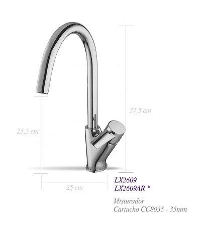 Misturador monocomando para cozinha LX2609 - Lexxa