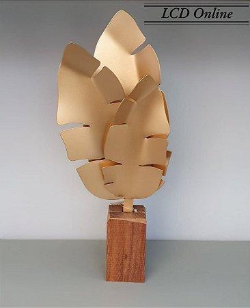 Escultura folhagem dourada 38x16 cm