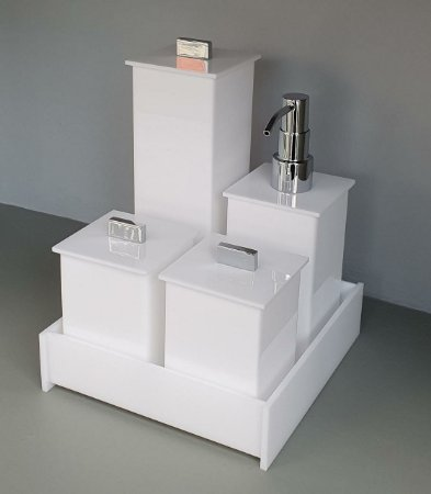 Conjunto de potes 05 peças branco Elegancy - bomba em latão
