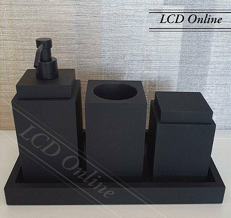 Conjunto 04 peças em resina - black fosco