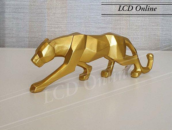 Escultura pantera dourada