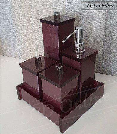 Conjunto de Potes 05 peças em Acrílico para Banheiro Marrom - Decor Acrílicos