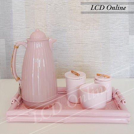 Conjunto 05 peças para chá rosa