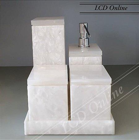 Conjunto de Potes 05 peças em Acrílico para Banheiro Pérola - Decor Acrílicos
