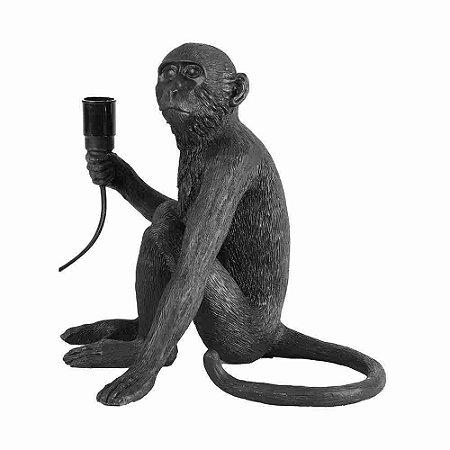 Escultura Abajour Macaco Sentado Preto