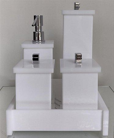 Conjunto de Potes 05 peças em Acrílico para Banheiro Branco - Decor Acrílicos