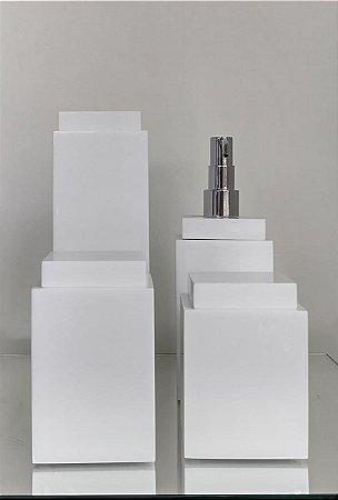Conjunto de Potes 04 peças em Resina para Banheiro Branco