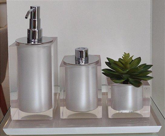 Conjunto de Potes 04 peças em Resnia para Banheiro / Lavabo - pérola