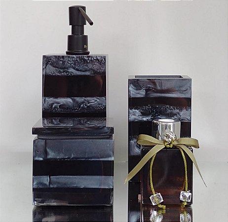 Conjunto de Potes Listrado 03 peças em Resina com bomba preta e difusor para Banheiro
