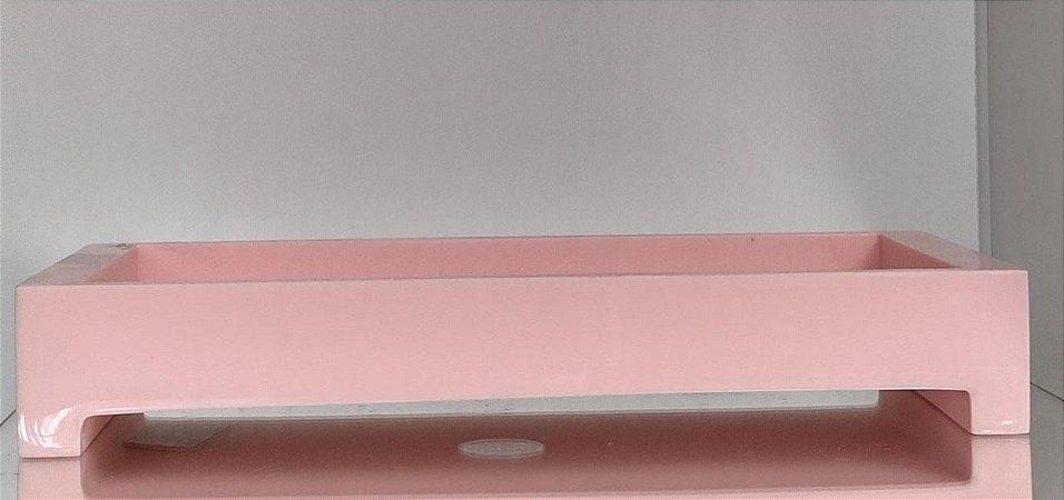 Bandeja Retangular Rosa bebe 29 x 13,5 - Resina