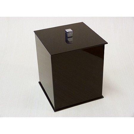 Lixeira quadrada Duo em acrilico Preto com puxador em metal - Decor Acrílicos