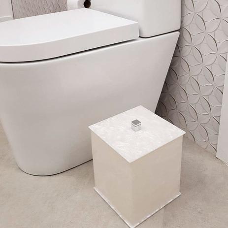 Lixeira quadrada Duo em acrilico Pérola com puxador em metal - Decor Acrílicos